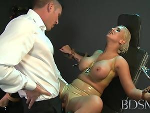 BDSM XXX Master straps big tits submissive babe