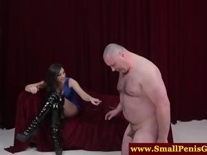 Micro cock dude facing mistress