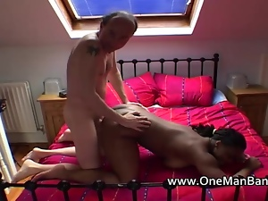 Ebony wife gets fucked by white dude