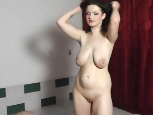 Naughty chick with really HUGE tits lapdances