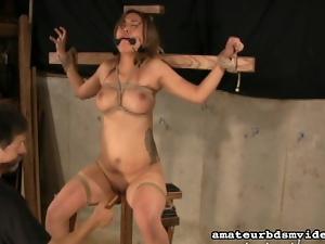 Bound girl made to cum