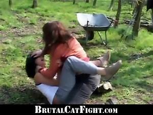 Pervert land owner made two girls fighting