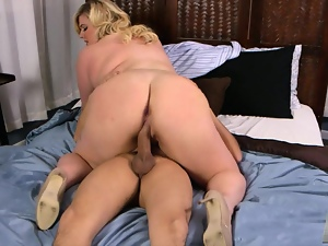 Chunky blonde rides cock