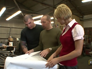 Blonde MILF fucked in the warehouse