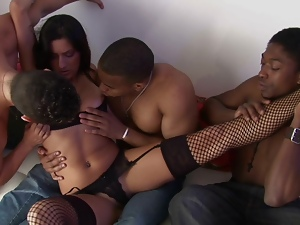 MILF seduced by a gang of pussy loving dudes