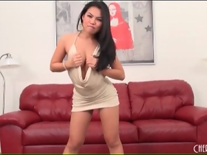 Cindy Starfall models a slutty club dress