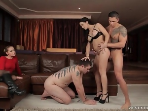 Babe serviced in sexy fuck as blonde watches
