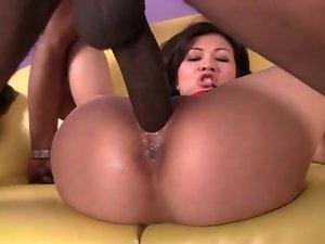 Huge black boner deeply fucks Asian whore