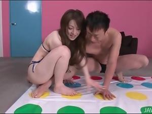 Twister game with bikini girl Ria Sakurai