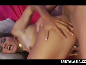 Obscene Asian slut gets her tight anus porked rough