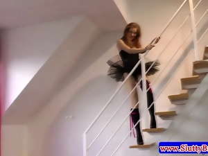 Young teen amateur on stairs masturbates