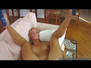 Teenager in cute blue heels ass fucked