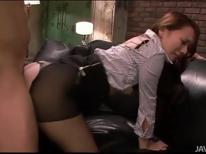 Fucking Japanese slut in ripped pantyhose