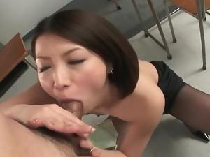 Japanese cutie rims ass and sucks cock