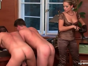 Hot girl in satin spanking guy asses in office