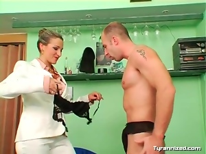 Mistress feminizes him to make him a girl