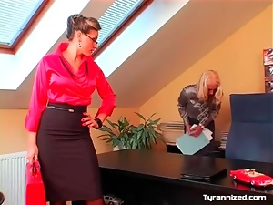 Femdom satin sex in the office with two babes