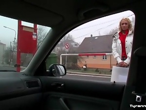 Hot blonde in skirt goes home with a couple