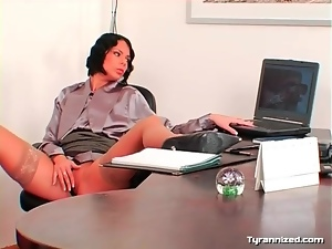 Office babe licks up and down the legs of satin girl