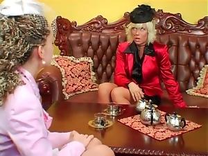 Tea loving ladies have a catfight for fun