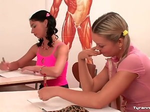Strict teacher bound by two students
