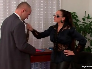 Dominated by office girl in sexy leather pants