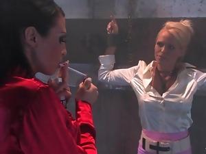 Satin blouse girl in bondage in kinky dungeon