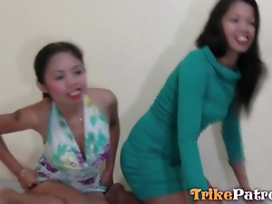 Two Asian prostitutes in pussy eating video