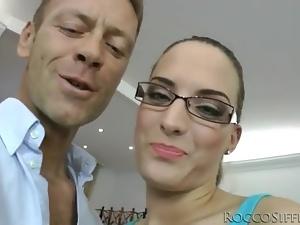 Sexy glasses on skinny brunette sucking dick