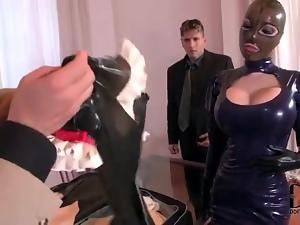 Latex mask and dress on big titty slut he fucks
