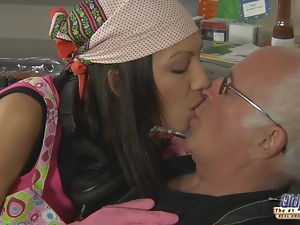 Old cock experiences young brunette's clean pussy
