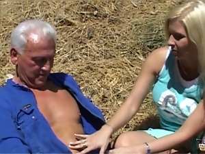 Old farmer seduced by young nasty blonde