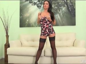 Slutty dress and stockings on brunette babe