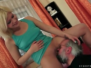 Old guy pisses on pretty girl