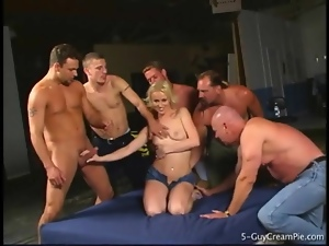 Sharon Wild fondled and gangbanged lustily