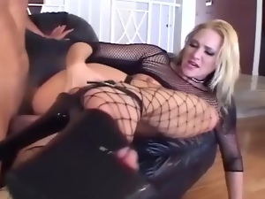 Skinny blonde fucking in sexy fishnet lingerie