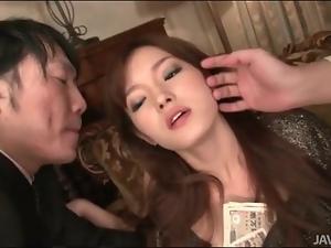 Two guys fondle sexy girl Mei Haruka