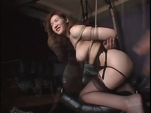 Big breasted Japanese chick tied up by her man