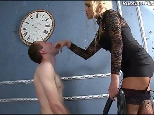 Milf humiliates him and pisses on his face