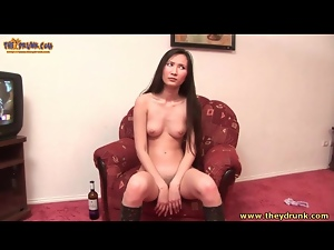 Leather boots on sexy drunk dancing girl