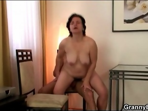 Hairy wet mature pussy sits on hard dick