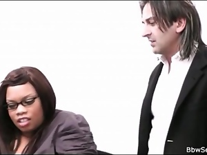 Cocksucking black secretary is a fat girl
