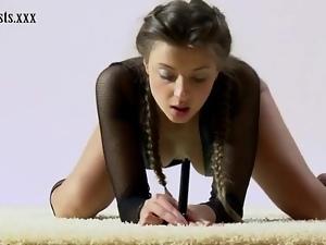 Fishnet lingerie looks hot on teen gymnast
