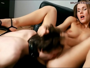 Hottie in heels rubs her pussy on his face