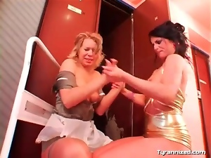 Rough lesbian femdom play with pussy eating