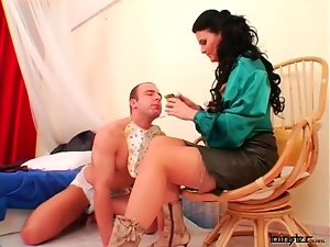 Mistress does adult baby play with sub guy