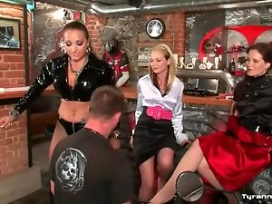 Bartender submits to three sexy women