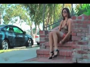 Short dress on girl flashing in public
