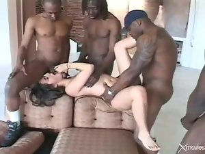 Cute young white girl gangbanged by black dicks