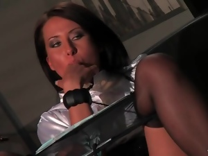 Erotic office sex with two satin lesbian babes